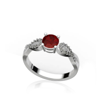 0.10 CT TW And 0.80 CT Moissanite Fashion Ring In Silver